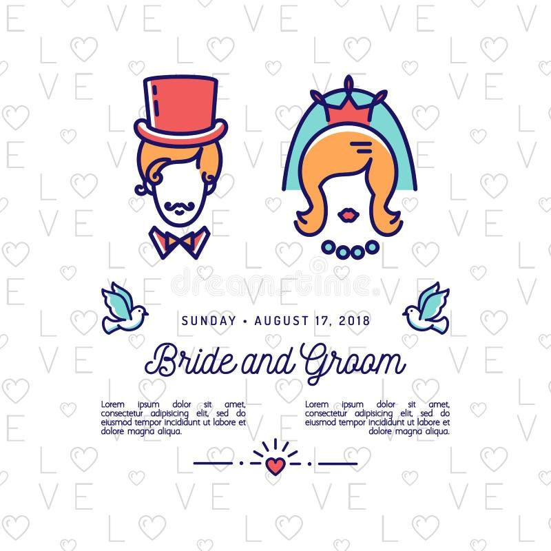 Ícones dos noivos, convite do casamento, economias retros o cartão de data Ilustração do vetor ilustração stock