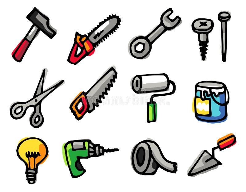 Ícones dos objetos das ferramentas ilustração do vetor