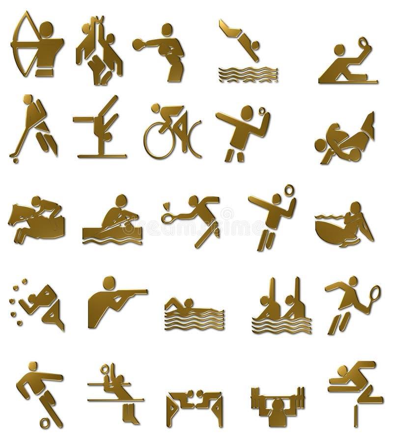 Ícones dos Olympics de verão ajustados (ouro) ilustração royalty free