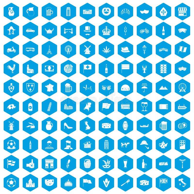 100 ícones dos países de Europa ajustados azuis ilustração stock