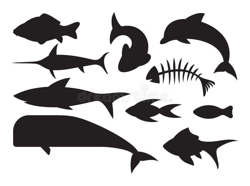 Ícones dos peixes ajustados ilustração royalty free
