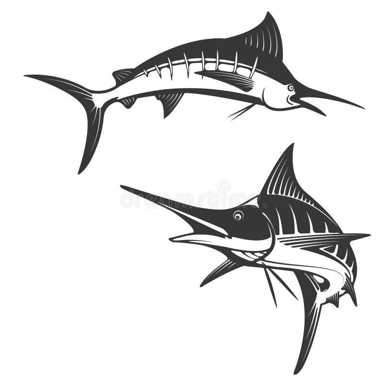 Ícones dos peixes do espadim ilustração royalty free