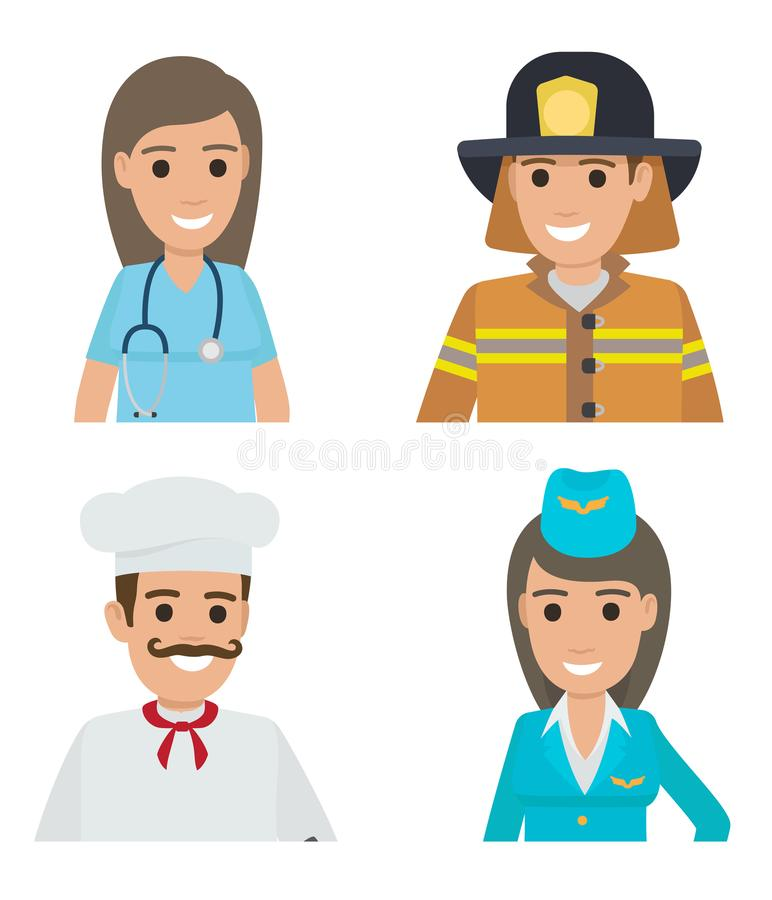 Ícones dos personagens de banda desenhada dos povos das profissões ajustados ilustração royalty free