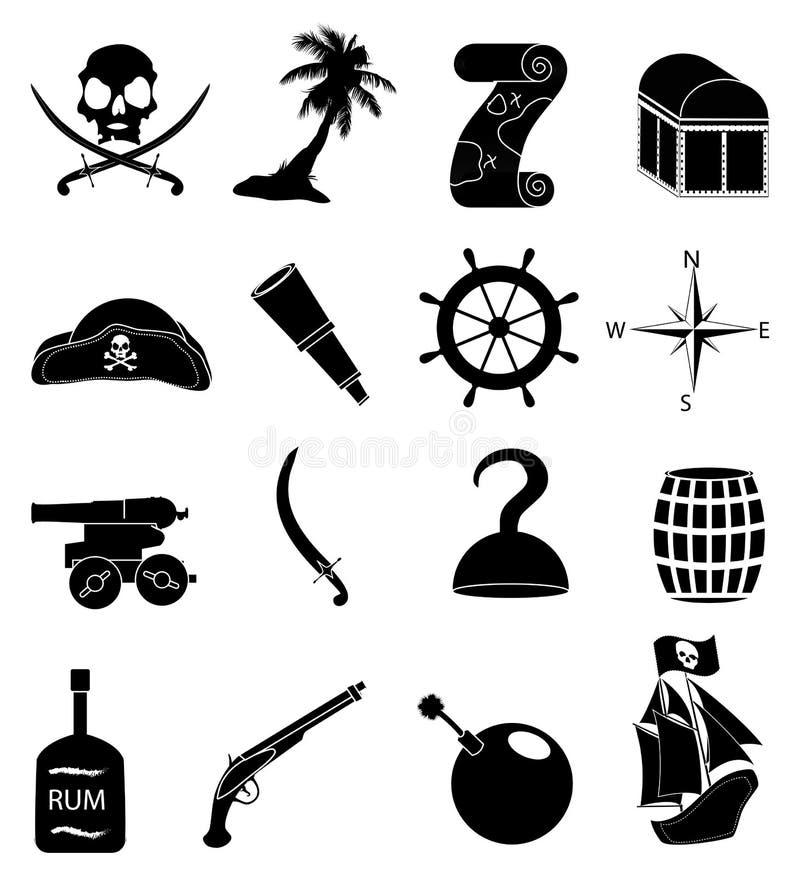 Ícones dos piratas ajustados ilustração royalty free