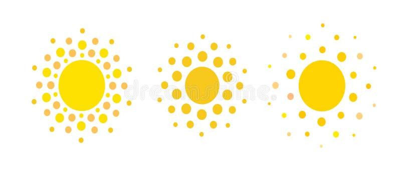 Ícones dos pontos de Sun Sinal do resto do verão Molde do logotipo da energia da agência de viagens ou do painel solar Projeto de ilustração do vetor