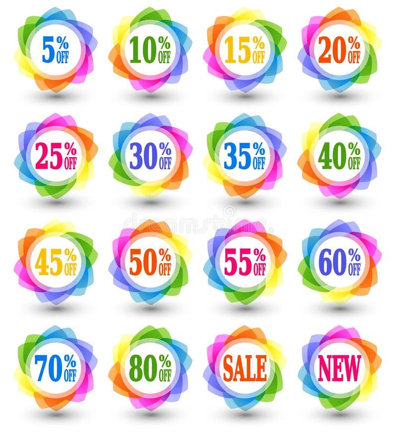 Ícones dos por cento do disconto da venda ilustração royalty free