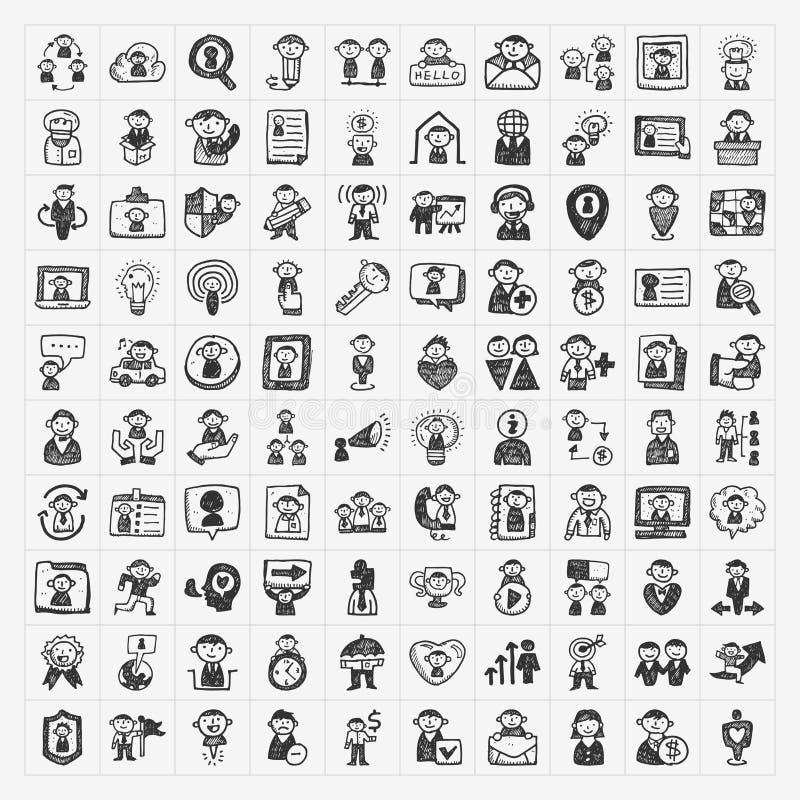 Ícones dos povos da garatuja ilustração stock