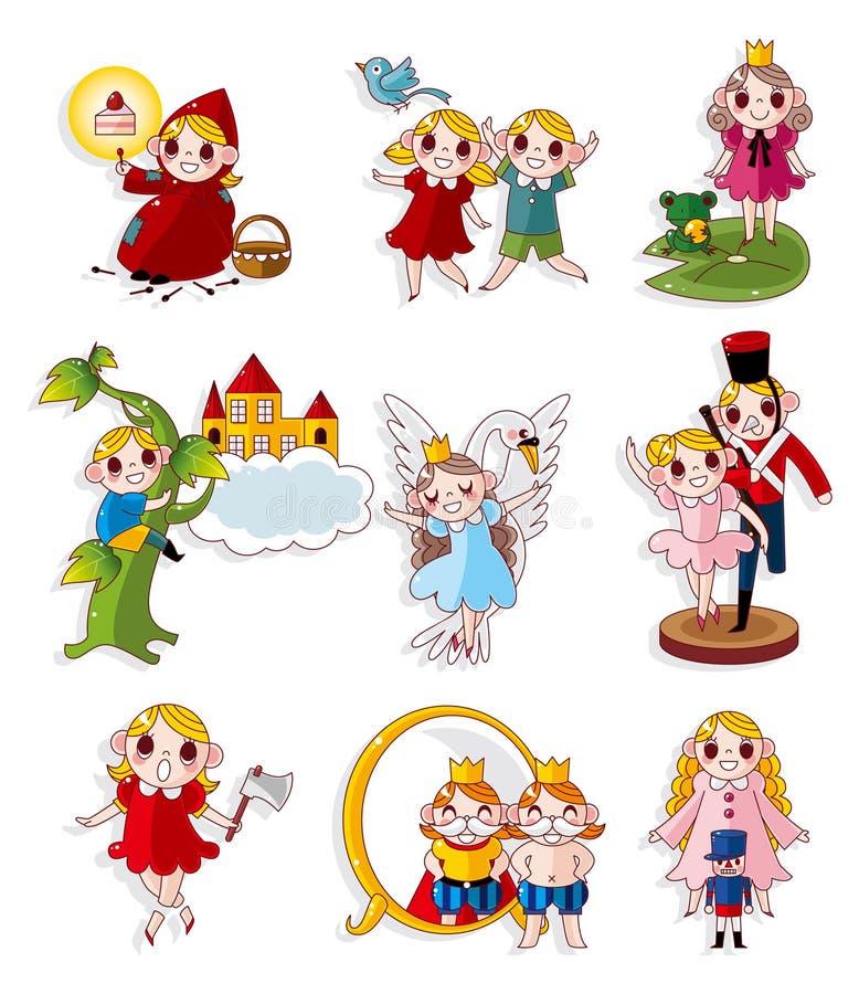 Ícones dos povos da história dos desenhos animados ajustados ilustração stock