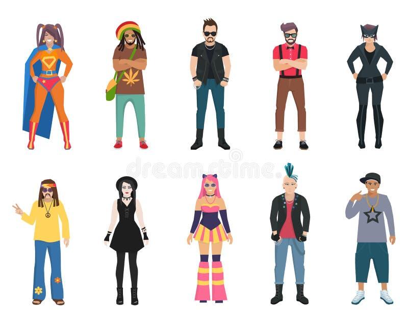 Ícones dos povos das subculturas ajustados ilustração stock