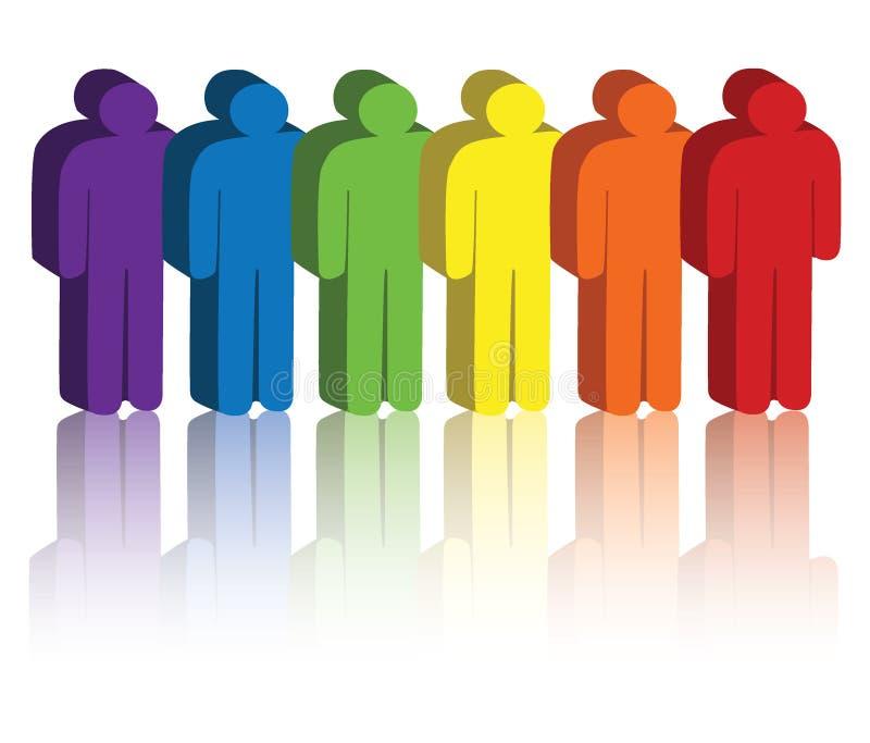 Ícones dos povos do arco-íris ilustração do vetor