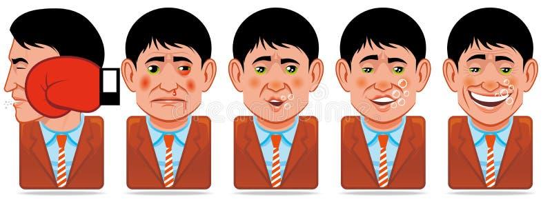 Ícones dos povos do Avatar (expressões faciais: perfurador, woun ilustração stock