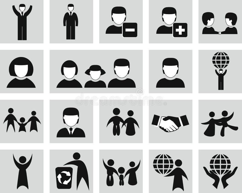 Ícones dos povos do vetor ajustados ilustração do vetor