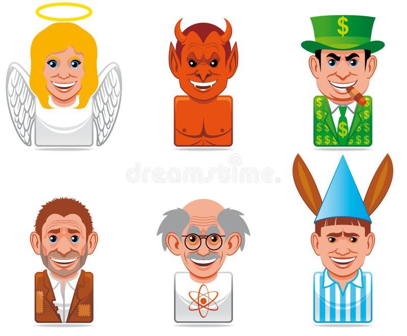Ícones dos povos dos desenhos animados ilustração stock