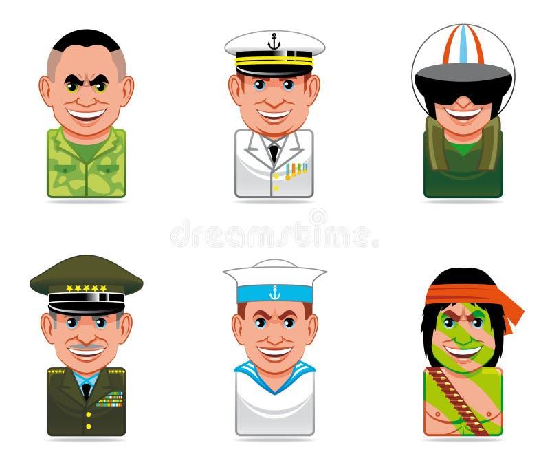 Ícones dos povos dos desenhos animados (exército) ilustração royalty free