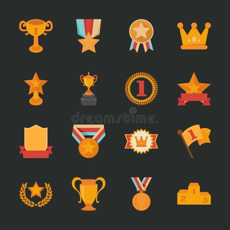 Ícones dos prêmios & das concessões, projeto liso ilustração royalty free