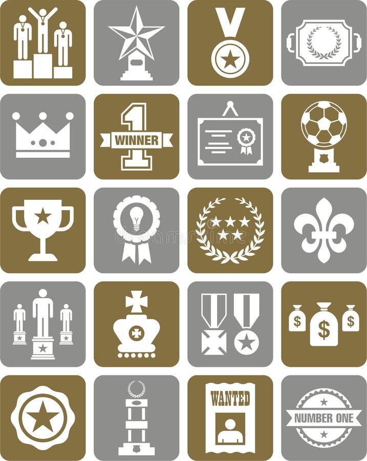 Ícones dos prêmios e das concessões ilustração stock