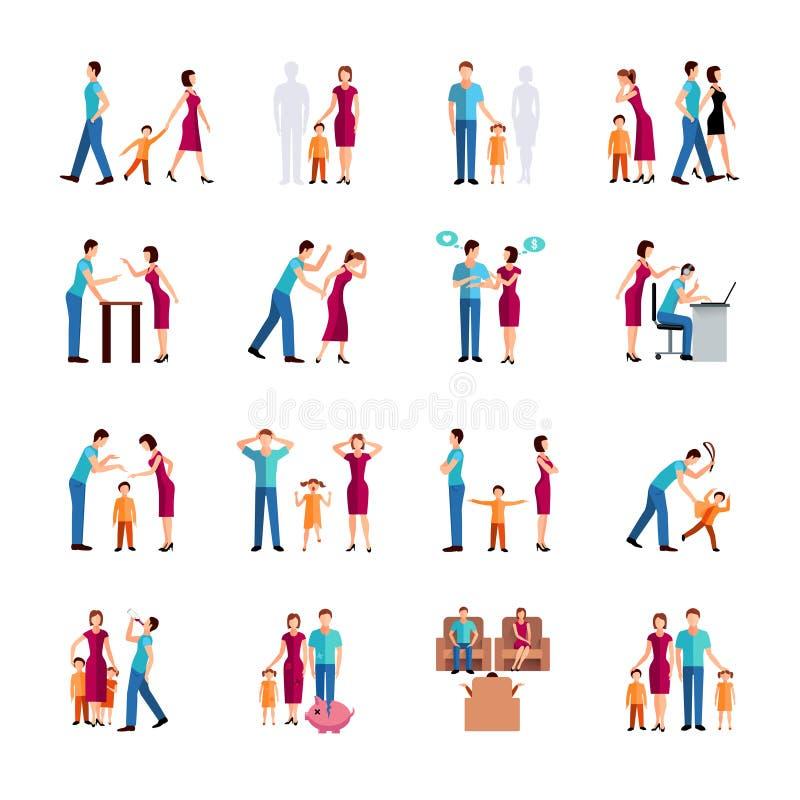 Ícones dos problemas da família ilustração stock