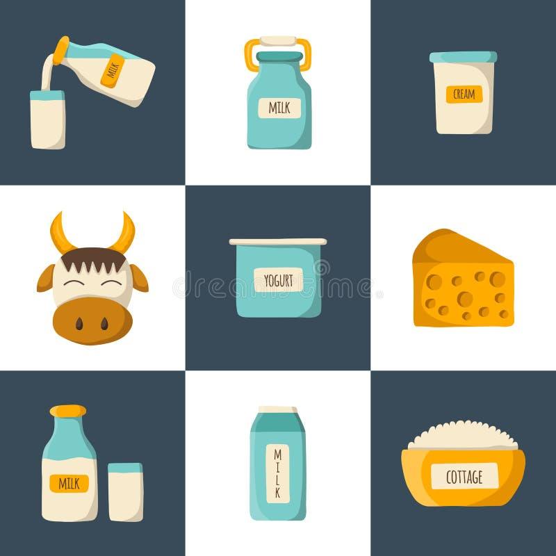 Ícones dos produtos de leite dos desenhos animados do vetor ilustração stock