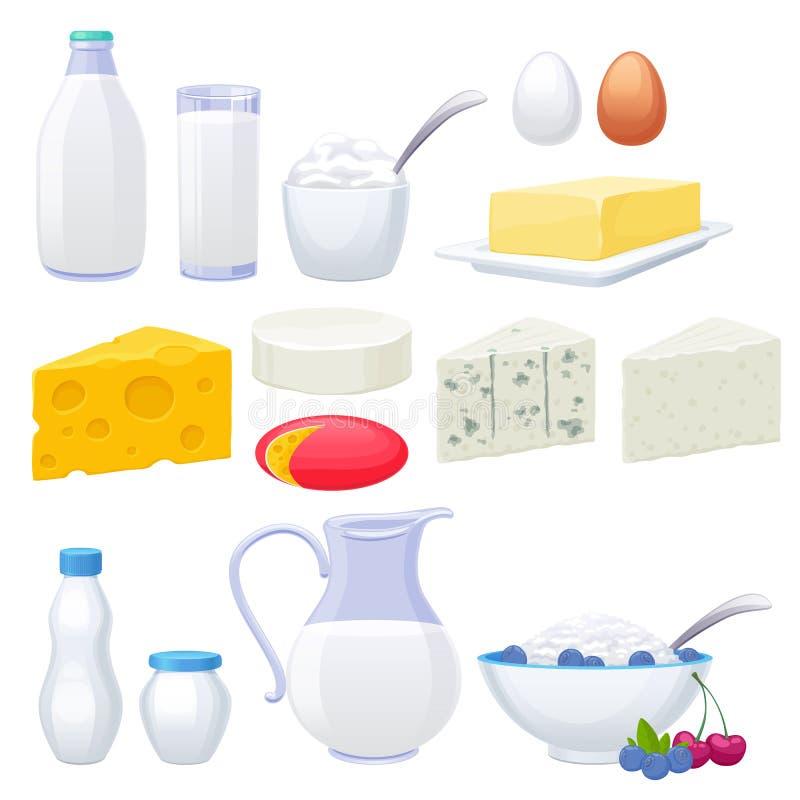 Ícones dos produtos láteos do leite ajustados ilustração royalty free
