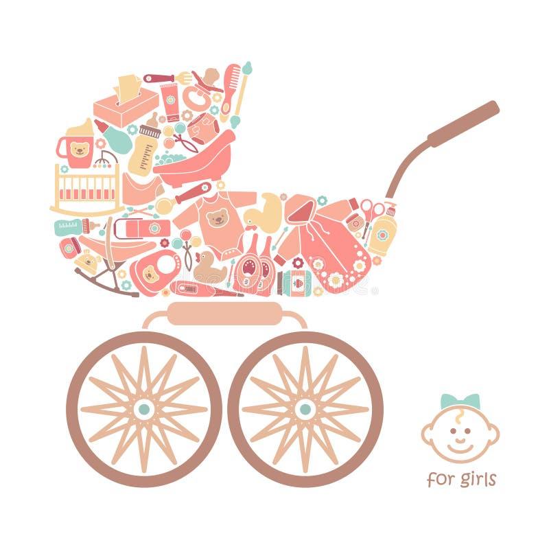 Ícones dos produtos para bebês sob a forma de um transporte de bebê ilustração stock