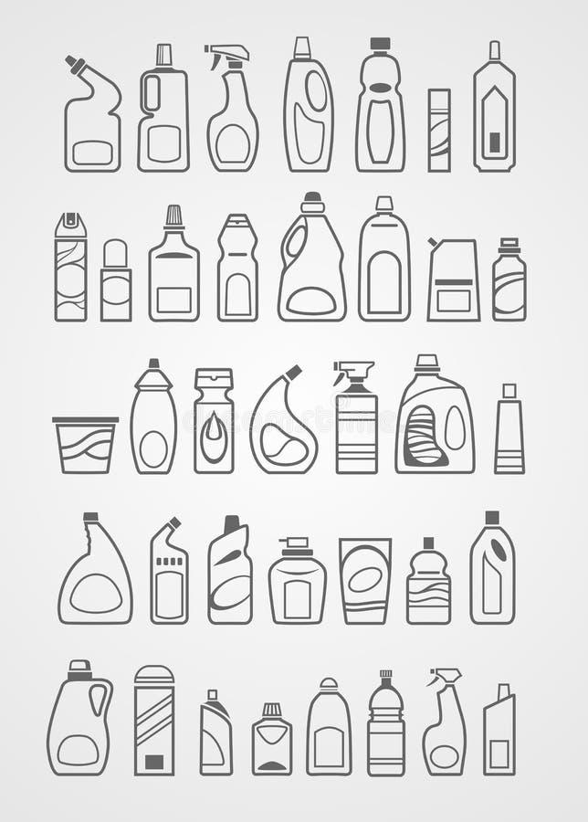 Ícones dos produtos químicos de agregado familiar ilustração royalty free