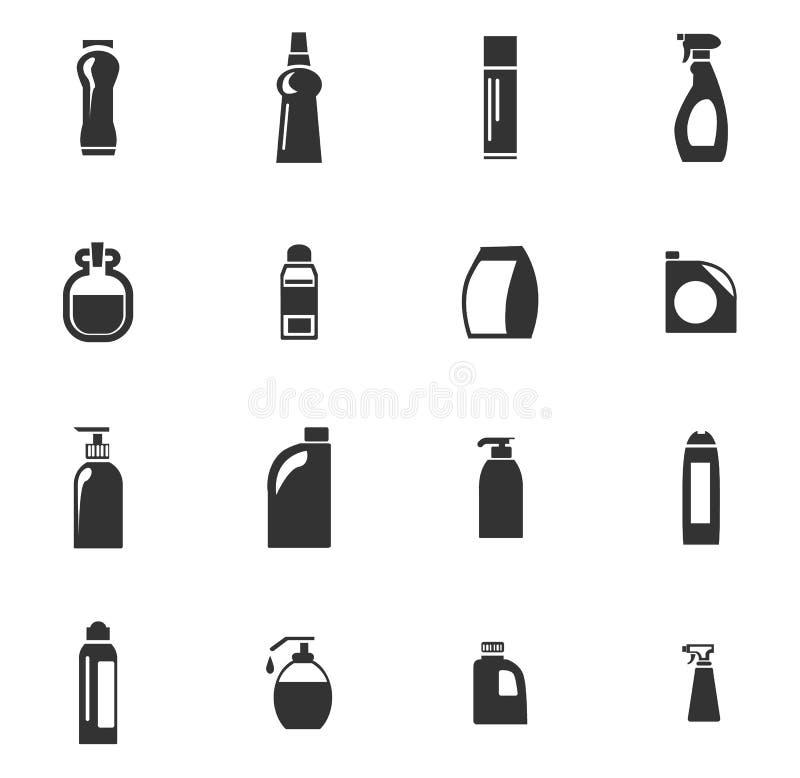 Ícones dos produtos químicos de agregado familiar ajustados ilustração do vetor