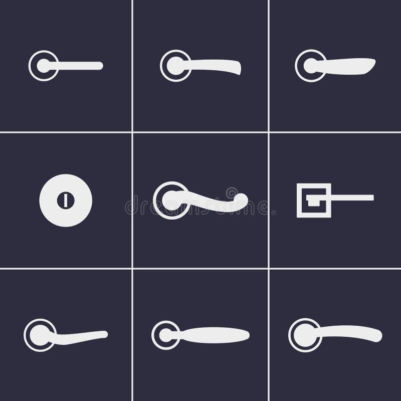 Ícones dos puxadores da porta imagens de stock