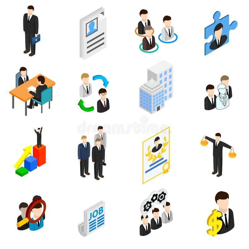 Ícones dos recursos humanos ajustados ilustração do vetor