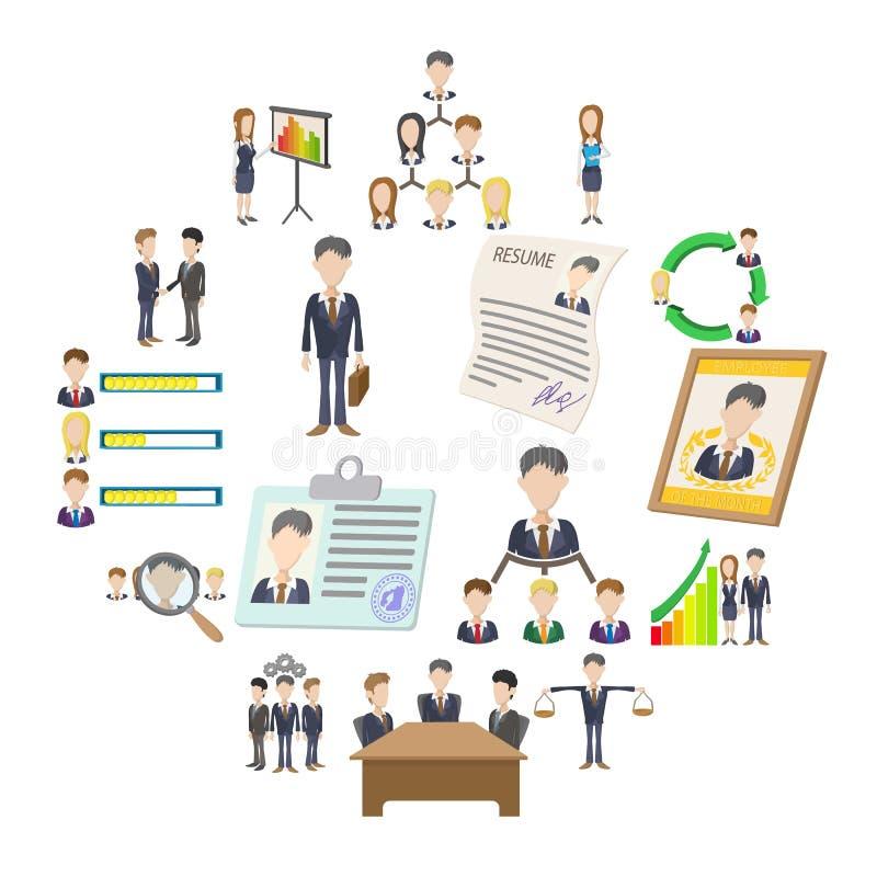 Ícones dos recursos humanos ajustados ilustração royalty free