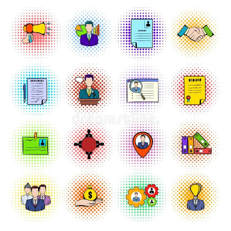 Ícones dos recursos humanos ajustados ilustração stock