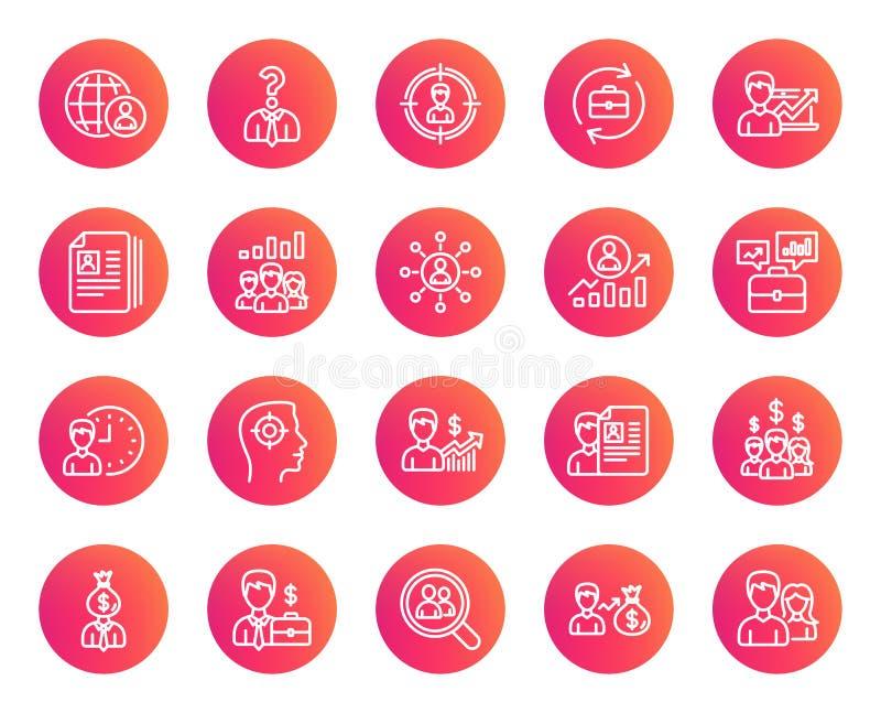 Ícones dos recursos humanos Caça principal, sinais do trabalho ilustração stock