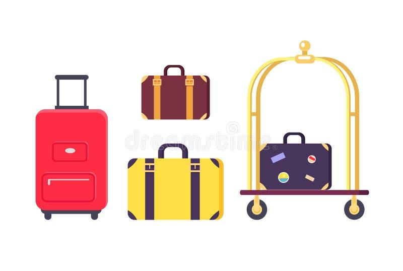Ícones dos sacos e das malas de viagem com carro do hotel ilustração do vetor