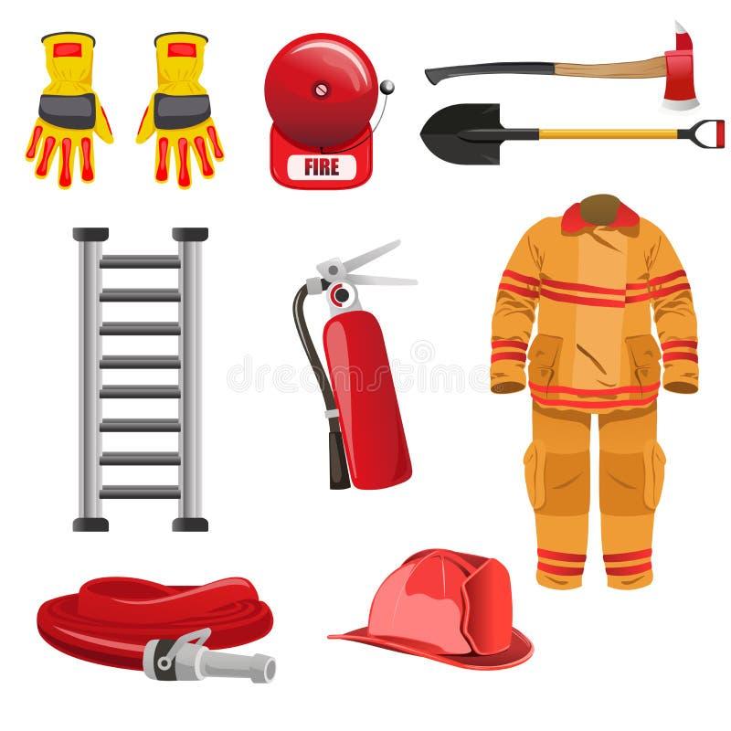Ícones dos sapadores-bombeiros ilustração stock