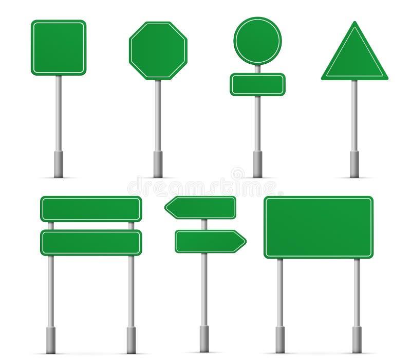 Ícones dos sinais da estrada da placa da estrada Ponteiro da informação do quadro indicador da rua do vetor, moldes dos sinais de ilustração stock