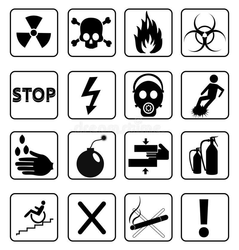 Ícones dos sinais de aviso do perigo ajustados ilustração stock