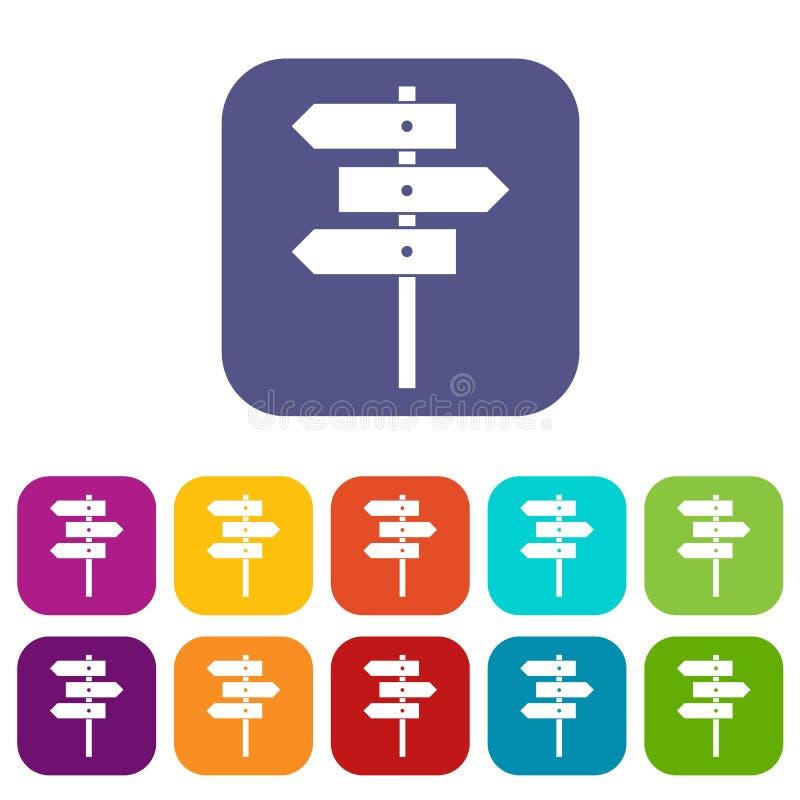 Ícones dos sinais de sentido ajustados ilustração royalty free