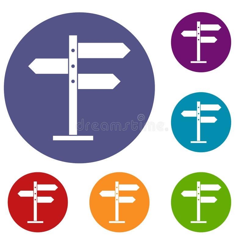 Ícones dos sinais de sentido ajustados ilustração do vetor