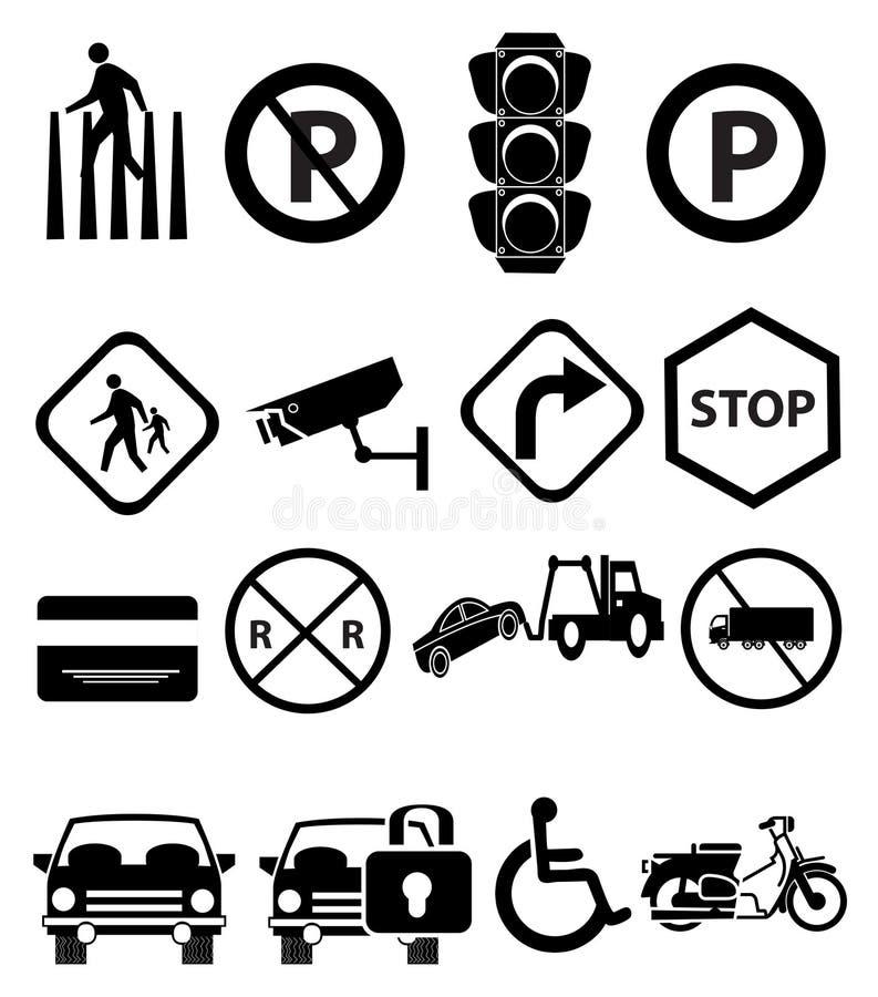Ícones dos sinais de tráfego ajustados ilustração stock