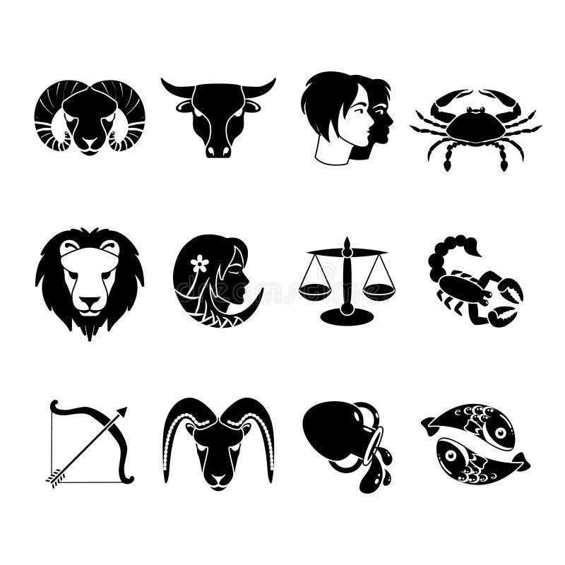 Ícones dos sinais do zodíaco ajustados pretos ilustração royalty free