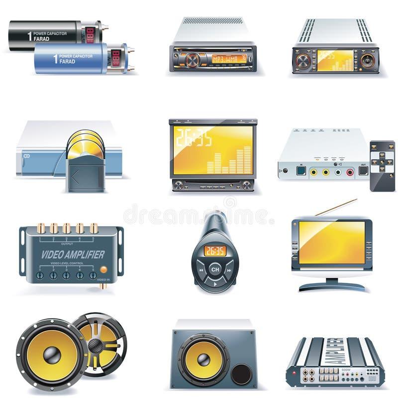 Ícones dos sistemas estereofónicos do carro do vetor