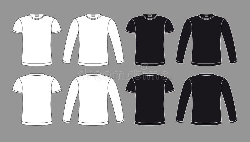 Ícones dos t-shirt em cores preto e branco ilustração royalty free
