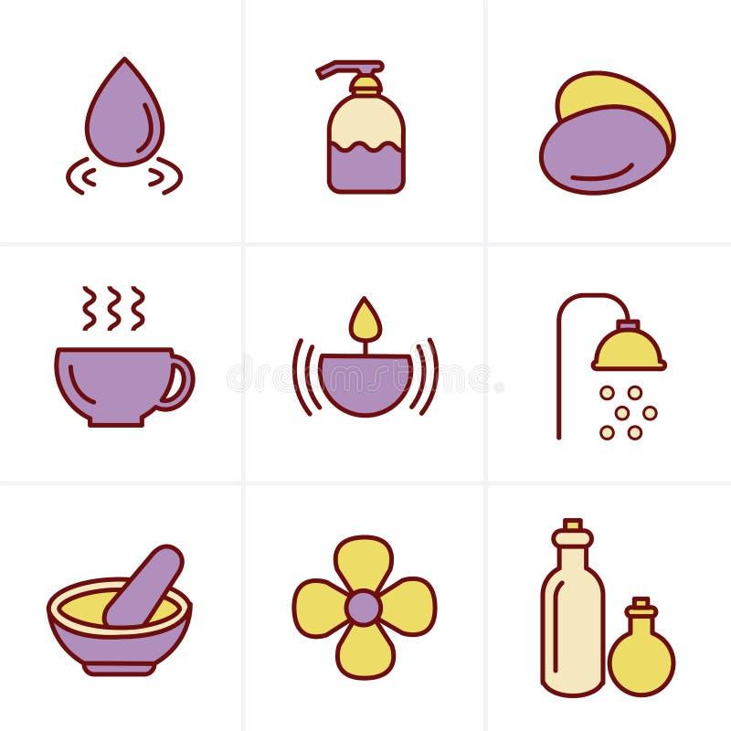 Ícones dos termas do estilo dos ícones ajustados ilustração royalty free