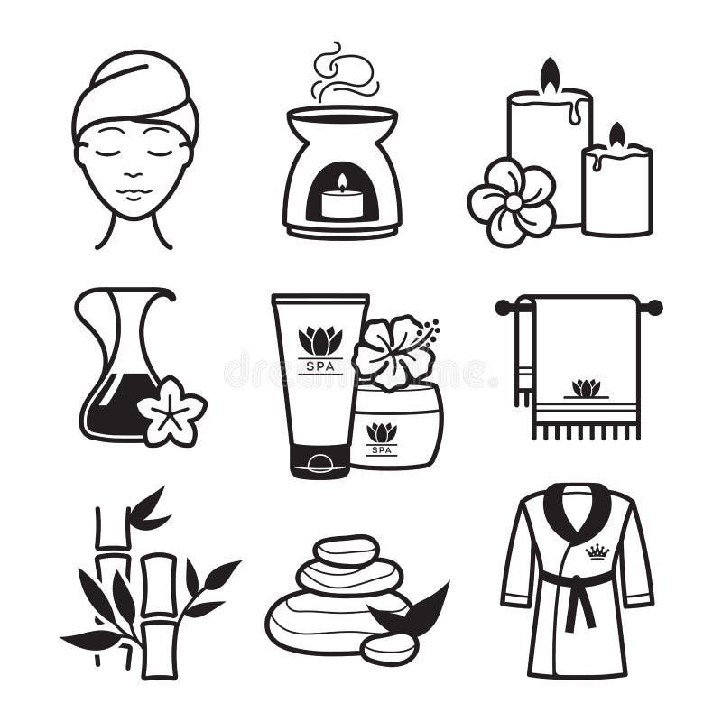 Ícones dos termas e do bem-estar ilustração royalty free