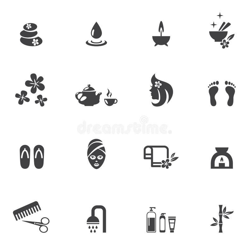 Ícones dos termas no fundo branco ilustração royalty free