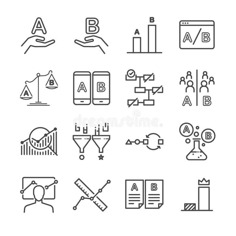 Ícones dos testes de A/B ajustados ilustração stock