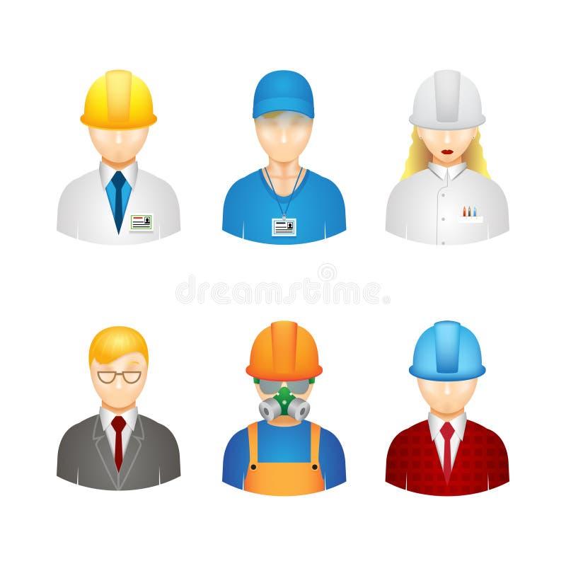 Ícones dos trabalhadores do vetor 3d ilustração royalty free