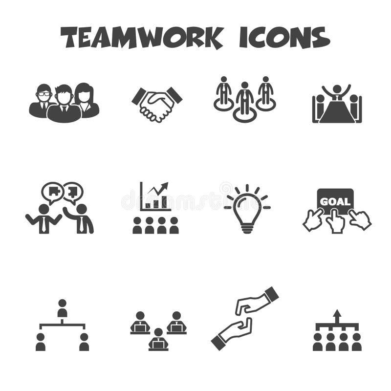 Ícones dos trabalhos de equipa ilustração do vetor