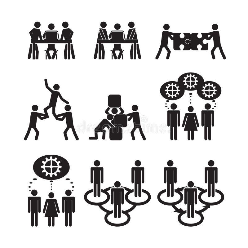 Ícones dos trabalhos de equipa ajustados ilustração do vetor