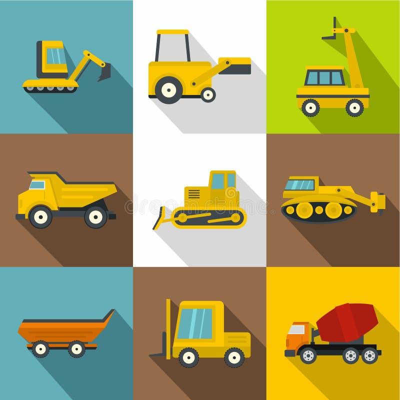 Ícones dos veículos da construção especial ajustados ilustração do vetor