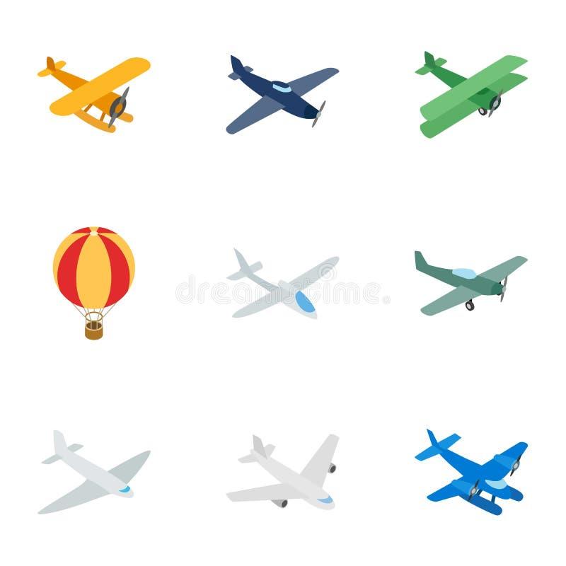 Ícones dos veículos do transporte aéreo, estilo 3d isométrico ilustração stock